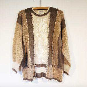 Vintage Merino Wool Blend Neutral Grandmacore Sweater